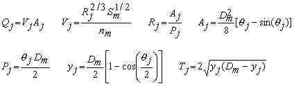 Manning equation for depths