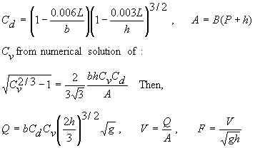 Rectangular flume equations